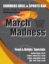 Join us for NCAA March Madness basketball tournament at Summers!