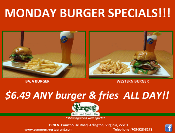 Monday Specials - Every Monday at Summers