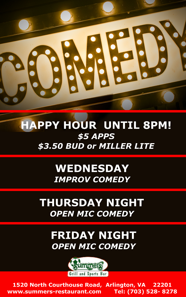 Join us for Live Comedy Every Wednesday, Thursday and Friday at Summers!