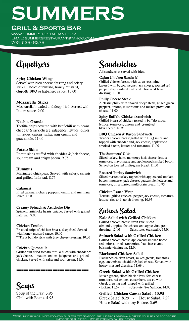 Summers Food Menu 2016-04-24 Page 1