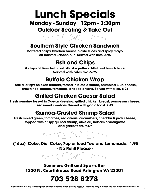 Lunch Specials - Monday thru Sunday - $7.95
